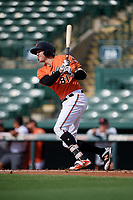 Baltimore Orioles right fielder Zach Jarrett (81) follows through on a swing during a Florida Instructional League game against the Pittsburgh Pirates on September 22, 2018 at Ed Smith Stadium in Sarasota, Florida.  (Mike Janes/Four Seam Images)
