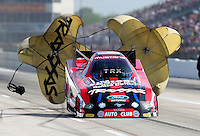 Apr. 26, 2013; Baytown, TX, USA: NHRA funny car driver Courtney Force during qualifying for the Spring Nationals at Royal Purple Raceway. Mandatory Credit: Mark J. Rebilas-