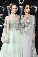 Elle Fanning and Angelina Jolie attend the European Premiere of Maleficent: Mistress of Evil at the BFI IMAX Waterloo in London.<br /> <br /> OCTOBER 9th 2019<br /> <br /> REF: RHD 193636 Credit: Matrix/MediaPunch ***FOR USA ONLY****