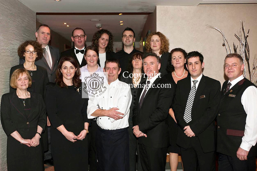 Executive Chef Robin Suter pictured on his last day at work in The Aghadoe Heights Hotel, Killarney after 21 years of service on Tuesday. Robins is pictured with staff members Front Row - Katherine Cronin, Marie Chawke, Robin Suter, Pat Chawke, David O'Brien, Kevin O'Shea. Middle Row - Nora O'Mahoney, Breda Moriarty, Breda Lucey, Maura Harris and at back,  Jason Higgins, Padraig Casey, Emma Reardon, Kevin O'Callaghan and  Jacinta Prendergast.Picture by Don MacMonagle