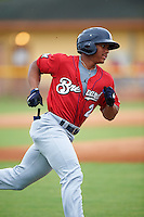 Brevard County Manatees center fielder Corey Ray (2) runs to first during a game against the Lakeland Flying Tigers on August 8, 2016 at Henley Field in Lakeland, Florida.  Lakeland defeated Brevard County 6-2.  (Mike Janes/Four Seam Images)