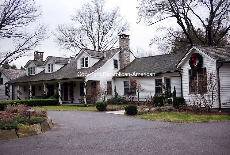 Woodbury, CT- 09 December 2015-120915CM06- The exterior of the Clark's home is shown decorated in Woodbury on Wednesday.  The Woman's Club of Woodbury Holiday House Tour will take place this upcoming weekend, which will feature six homes.       Christopher Massa Republican-American