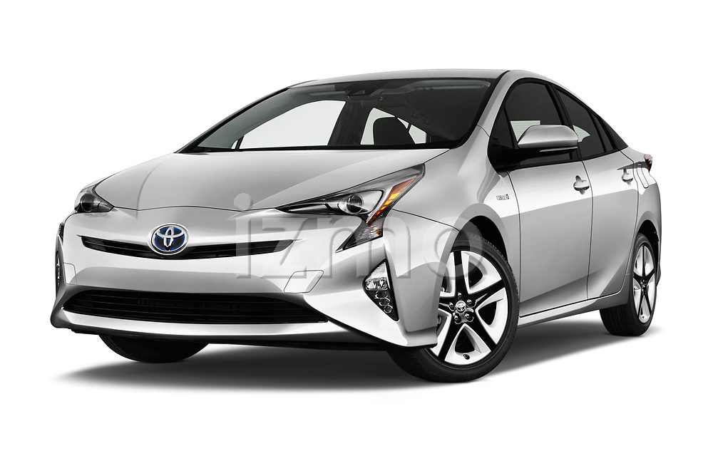Stock pictures of low aggressive front three quarter view of a 2018 Toyota Prius lounge 5 Door Hatchback