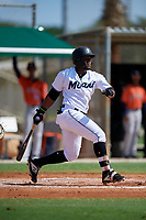 GCL Marlins Omar Lebron (30) bats during a Gulf Coast League game against the GCL Astros on August 8, 2019 at the Roger Dean Chevrolet Stadium Complex in Jupiter, Florida.  GCL Astros defeated GCL Marlins 4-2.  (Mike Janes/Four Seam Images)