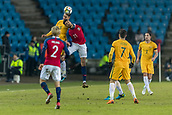 23rd March 2018, Ullevaal Stadion, Oslo, Norway; International Football Friendly, Norway versus Australia; Mark Milligan of Australia challenges Bjorn Maars Johnsen of Norway for the header