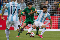 Seattle, WA - Tuesday June 14, 2016: Argentina forward Sergio Aguero (11) and Bolivia midfielder Pedro Azogue (15) during a Copa America Centenario Group D match between Argentina (ARG) and Bolivia (BOL) at CenturyLink Field
