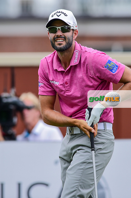 Adam Hadwin (CAN) watches his tee shot on 1 during the round 3 of the Dean &amp; Deluca Invitational,  Colonial Country Club, Ft. Worth, Texas, USA. 5/28/2016.<br /> Picture: Golffile | Ken Murray<br /> <br /> <br /> All photo usage must carry mandatory copyright credit (&copy; Golffile | Ken Murray)