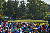 A wide shot of the green on 3 with a huge gallery gathered to watch early morning tee times during 1st round of the 100th PGA Championship at Bellerive Country Cllub, St. Louis, Missouri. 8/9/2018.<br /> Picture: Golffile | Ken Murray<br /> <br /> All photo usage must carry mandatory copyright credit (© Golffile | Ken Murray)