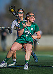 30 March 2016: Manhattan College Jasper Attacker Molly Fitzpatrick, a Freshman from Yorktown NY, in action against the University of Vermont Catamounts at Virtue Field in Burlington, Vermont. The Lady Cats defeated the Jaspers 11-5 in non-conference play. Mandatory Credit: Ed Wolfstein Photo *** RAW (NEF) Image File Available ***