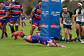Katetistoti Nginingini dives over to score for Ardmore Marist. Counties Manukau Premier Club Rugby game between Ardmore Marist and Manurewa, played at Bruce Pulman Park Papakura on Saturday May 12th 2018. Ardmore Marist won the game 20 - 3 after leading 17 - 3 at halftime.<br /> Ardmore Marist - Katetistoti Nginingini try, penalty try, Latiume Fosita conversion, Latiume Fosita 2 penalties.<br /> Manurewa - Logan Fonoti penalty.<br /> Photo by Richard Spranger.