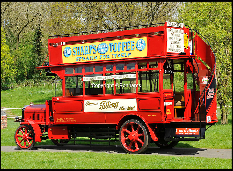 BNPS.co.uk (01202 558833)<br /> Pic: Bonhams/BNPS<br /> <br /> ***Please use full byline***<br /> <br /> Just the ticket -  1920's 'Boris Bus' sells for twice its estimate.<br /> <br /> A last surviving petrol electric hybrid London bus from the 1920's has revealed that Eco technology has been around for a lot longer than most people think.<br /> <br /> The world's first environmentally friendly bus, that was built almost 100 years ago, has sold for £216,000<br /> <br /> The vintage vehicle uses similar technology to the Boris bus in London today, except it was actually made in 1922.<br /> <br /> The bright red double decker has a petrol engine which charges up the electric motor that then powers the bus.<br /> <br /> It is far more eco-friendly than an average petrol automobile of the time, because it constantly ran on the electric without the need to increase revs.<br /> <br /> A journey would have cost customers between one and two pennies each for an off-peak trip in the middle of the day.<br /> <br /> The rare bus was created by Tilling-Stevens and is one of the last surviving vehicles with solid tyres and the only one of its kind in existance today.<br /> <br /> This bus was discovered in a scrap yard by Michael Banfield, a car and coach enthusiast, and he spent many years restoring it to its former glory before his death last year.<br /> <br /> It has now been auctioned at a Bonhams sale in Maidstone, Kent.