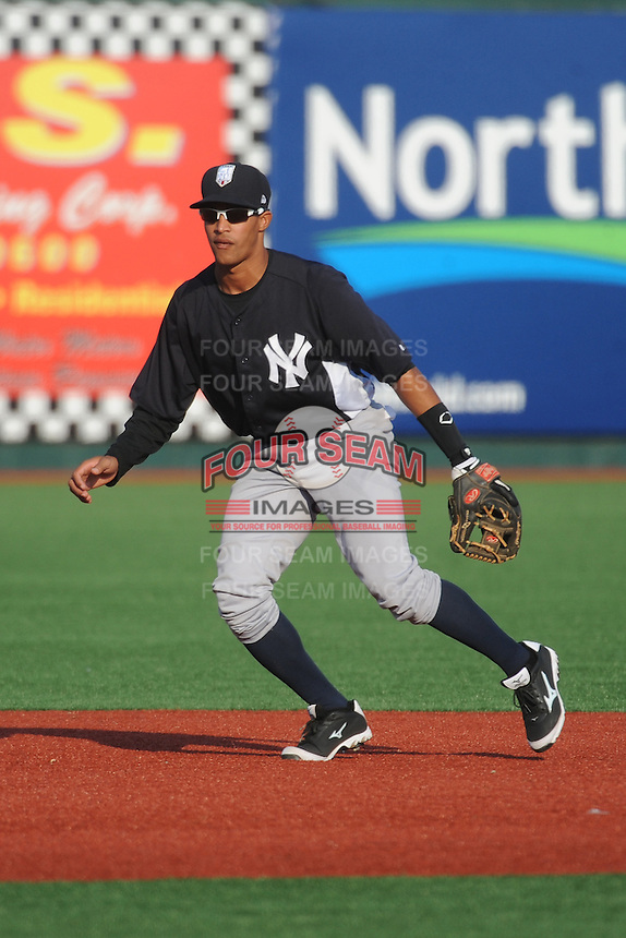 Staten Island Yankees infielder Jose Javier (65) during game against the Brooklyn Cyclones at MCU Park on June 29, 2014 in Brooklyn, NY.  Staten Island defeated Brooklyn 5-4.  (Tomasso DeRosa/Four Seam Images)