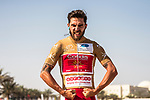 Gold Jersey wearer Loic Chetout (FRA) Cofidis poses at sign on before the start of Stage 3 of the 2018 Tour of Oman running 179.5km from German University of Technology to Wadi Dayqah Dam. 15th February 2018.<br /> Picture: ASO/Muscat Municipality/Kare Dehlie Thorstad | Cyclefile<br /> <br /> <br /> All photos usage must carry mandatory copyright credit (&copy; Cyclefile | ASO/Muscat Municipality/Kare Dehlie Thorstad)