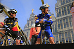 Belgian National Champion Yves Lampaert and Philippe Gilbert (BEL) Deceuninck-Quick Step on stage at the team presentation in Antwerp before the start of the 2019 Ronde Van Vlaanderen 270km from Antwerp to Oudenaarde, Belgium. 7th April 2019.<br /> Picture: Eoin Clarke | Cyclefile<br /> <br /> All photos usage must carry mandatory copyright credit (&copy; Cyclefile | Eoin Clarke)