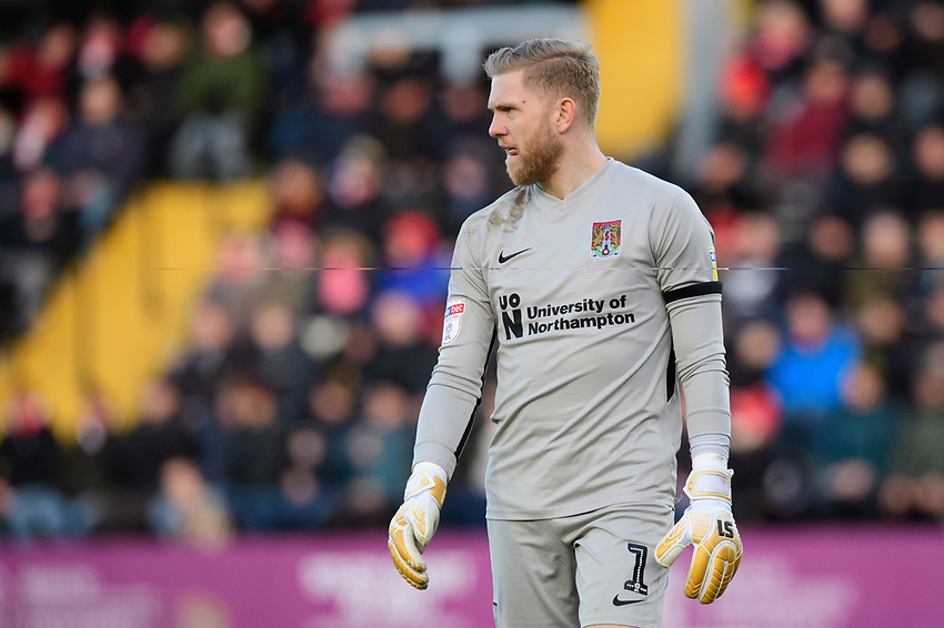 Northampton Town's David Cornell<br /> <br /> Photographer Chris Vaughan/CameraSport<br /> <br /> The EFL Sky Bet League Two - Lincoln City v Northampton Town - Saturday 9th February 2019 - Sincil Bank - Lincoln<br /> <br /> World Copyright © 2019 CameraSport. All rights reserved. 43 Linden Ave. Countesthorpe. Leicester. England. LE8 5PG - Tel: +44 (0) 116 277 4147 - admin@camerasport.com - www.camerasport.com