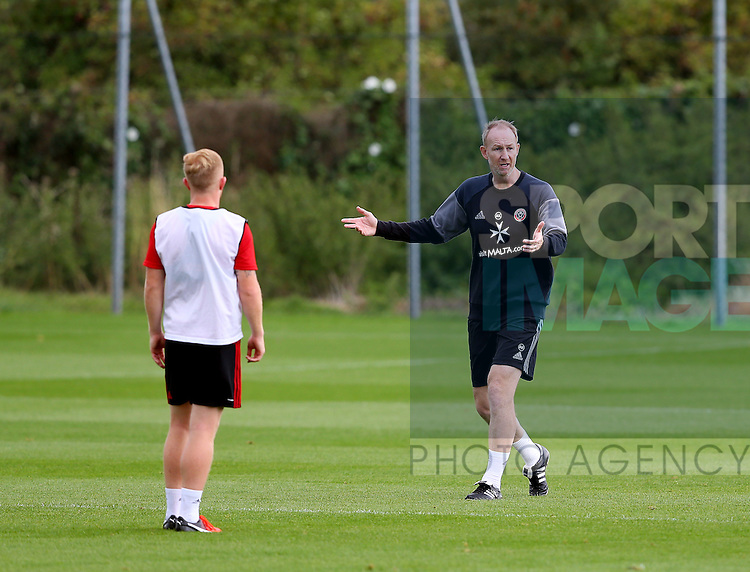 Alan Knill Assistant manager during the Sheffield Utd training session at the Shirebrook training complex, Sheffield. Picture date: 2nd September 2016. Picture Simon Bellis/Sportimage