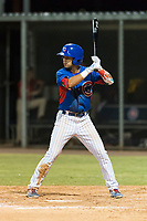 AZL Cubs 2 second baseman Reivaj Garcia (24) at bat during an Arizona League game against the AZL Indians 2 at Sloan Park on August 2, 2018 in Mesa, Arizona. The AZL Indians 2 defeated the AZL Cubs 2 by a score of 9-8. (Zachary Lucy/Four Seam Images)