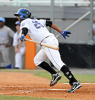 Outfielder Julio Concepcion (25) of the Kingsport Mets, Appalachian League affiliate of the New York Mets, in a game against the Burlington Royals on August 20, 2011, at Hunter Wright Stadium in Kingsport, Tennessee. Kingsport defeated Burlington, 17-14. (Tom Priddy/Four Seam Images)