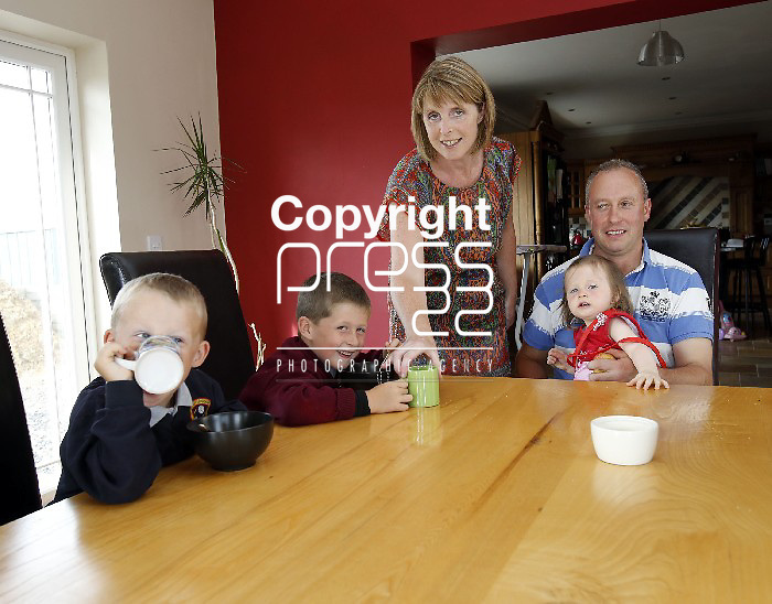 23/07/2013 Terry and Sinead Buckley pictured with their children Aaron (6), Conor (4) and Clodagh (almost 2) at home in Ballylanders, Co Limerick. Pic: Don Moloney/Press 22