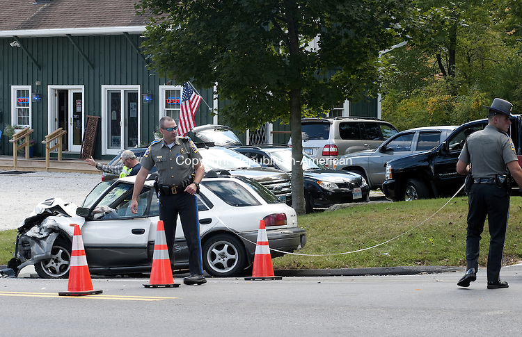 GOSHEN, CT - 17 SEPT 2014 -- State troopers investigate a two-car crash on Route 4 in Goshen Wednesday afternoon. Alec Johnson/ Republican-American
