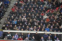 VOETBAL: SC HEERENVEEN: Abe Lenstra Stadion, 17-02-2012, SC-Heerenveen-NAC, Eredivisie, Eindstand 1-0, publiek, staand de broers Wim en Hans Anker, ©foto: Martin de Jong.