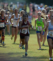 NWA Democrat-Gazette/ANDY SHUPE<br /> Springdale's Esperanza Trejo nears the finish line Saturday, Oct. 5, 2019, during the Chile Pepper Cross Country Festival at Agri Park in Fayetteville. Visit nwadg.com/photos to see more photographs from the races.