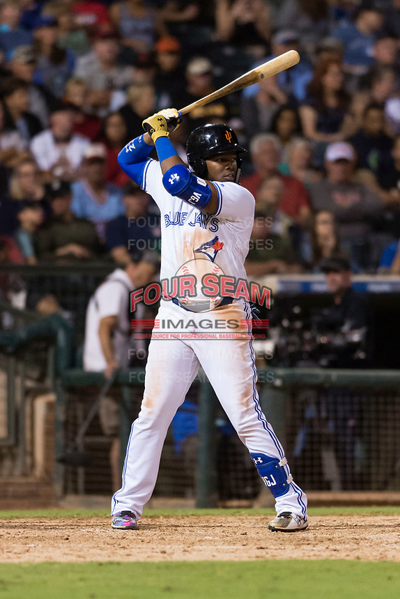 AFL West third baseman Vladimir Guerrero Jr. (27), of the Surprise Saguaros and Toronto Blue Jays organization, at bat during the Arizona Fall League Fall Stars game at Surprise Stadium on November 3, 2018 in Surprise, Arizona. The AFL West defeated the AFL East 7-6 . (Zachary Lucy/Four Seam Images)