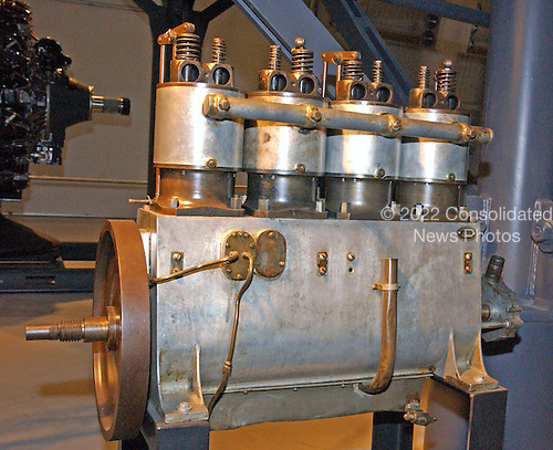 Chantilly, VA - December 11, 2003 -- This Wright Vertical 4, the oldest existing United States Navy aircraft engine, powered the Navy's first Wright airplane, the B-1 hydroaeroplane.  In 1912 the B-1 crashed in San Diego Bay during a training flight.  Navy mechanics repaired the heavily damaged aircraft and its engine.  Attempts to solder and weld the aluminum fragments to the crankcase proved impossible, so an electrician fabricated a sheet metal patch and bolted it to the lower side of the crankcase.  This engine is the only known artifact to have survived from the Navy's first aviation training program, during which routine flights and accidents resulted in a cycle of repair and reconstruction of aircraft and overhaul of many engines..It is a reciprocating, 4 cylinder in-line, liquid cooled engine and is capable of producing 36 horsepower at 1600 revolutions per minute (rpm).  The engine weighs 180 pounds (81.7 kilograms)..Credit: Ron Sachs / CNP.(RESTRICTION: NO New York or New Jersey Newspapers or newspapers within a 75 mile radius of New York City)