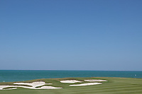A general view of the 9th green during the final round of the Oman Open, Al Mouj Golf, Muscat, Sultanate of Oman. 03/03/2019<br /> Picture: Golffile | Phil Inglis<br /> <br /> <br /> All photo usage must carry mandatory copyright credit (&copy; Golffile | Phil Inglis)