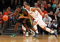 Dec. 17, 2010; Charlottesville, VA, USA; Oregon Ducks guard Teondre Williams (22) steals the ball from Virginia Cavaliers guard Mustapha Farrakhan (2) during the first half of the game at the John Paul Jones Arena. Mandatory Credit: Andrew Shurtleff