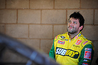 Aug 30, 2008; Fontana, CA, USA; NASCAR Sprint Cup Series driver Tony Stewart during practice for the Pepsi 500 at Auto Club Speedway. Mandatory Credit: Mark J. Rebilas-