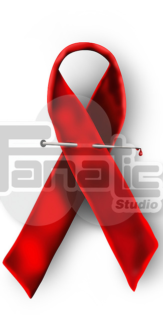 Close-up of an AIDS awareness ribbon
