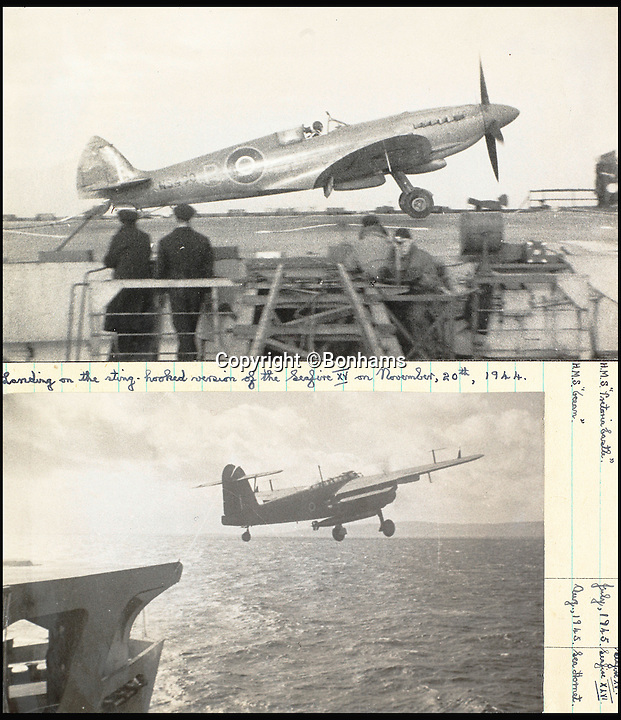 BNPS.co.uk (01202 558833)<br /> Pic: Bonhams/BNPS<br /> <br /> Capt Eric Brown landing and taking off in a Seafire XV plane on an aircraft carrier in November 1944.<br /> <br /> The historic medals and logbooks of legendary test pilot Eric 'Winkle' Brown have been saved for the nation and will be displayed in a British museum.<br /> <br /> A deal has been secured for the hero's prestigious decorations and all his flying journals after they failed to sell at auction earlier this week.<br /> <br /> They had been expected to sell for &pound;200,000, possibly to an overseas buyer, but bidding only reached &pound;140,000, falling short of the reserve price.<br /> <br /> Now it has emerged that the National Museum of the Royal Navy has negotiated a deal with Captain Brown's family to buy his stunning archive.