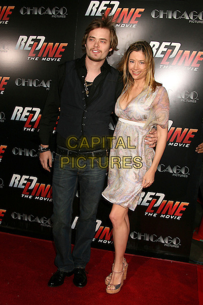"CHRISTOPHER BACKUS & MIRA SORVINO.""Redline"" Los Angeles Premiere at Grauman's Chinese Theatre, Hollywood, California, USA, 12 April 2007..full length sheer purple print patterned white dress wedges.CAP/ADM/BP.©Byron Purvis/AdMedia/Capital Pictures."