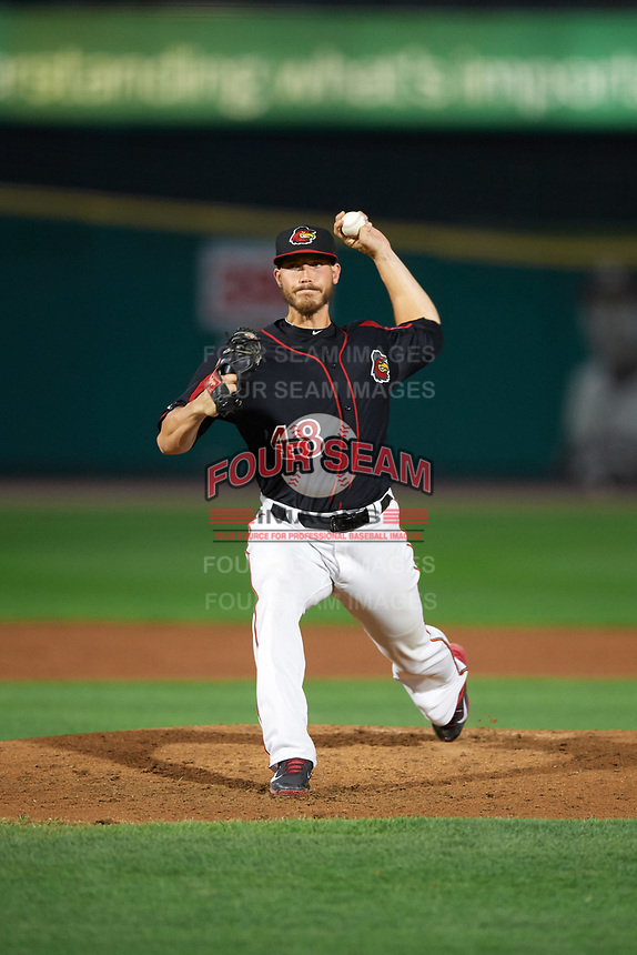 Rochester Red Wings relief pitcher Nik Turley (48) delivers a pitch during a game against the Buffalo Bisons on August 25, 2017 at Frontier Field in Rochester, New York.  Buffalo defeated Rochester 2-1 in eleven innings.  (Mike Janes/Four Seam Images)
