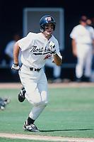 Adam Kennedy of the Cal State Northridge Matadors runs to first base during a 1996 NCAA baseball season game at Matador Field in Northridge, California. (Larry Goren/Four Seam Images)