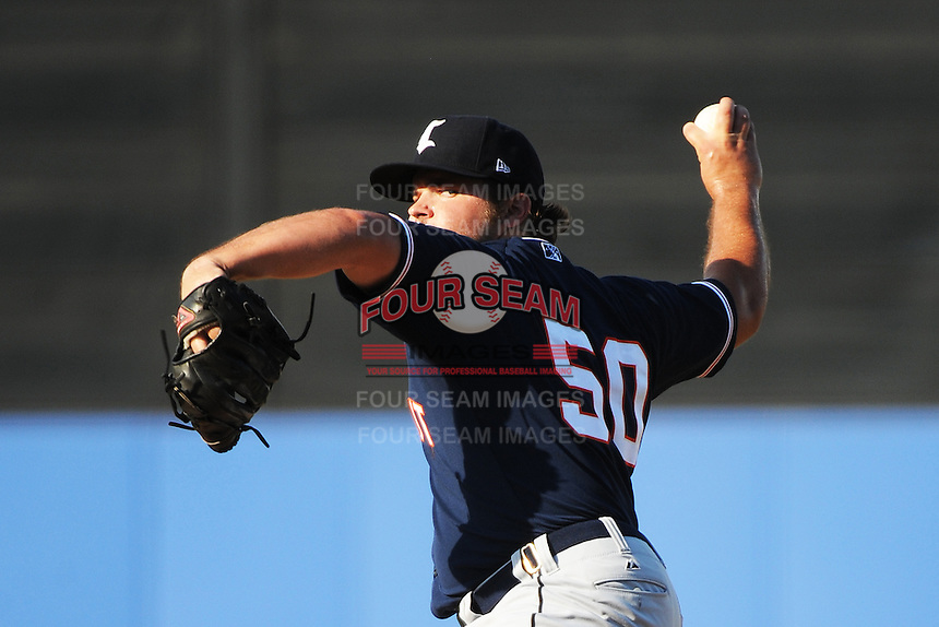 Connecticut Tigers pitcher Scott Sitz (50) during game against the Staten Island Yankees at Richmond County Bank Ballpark at St.George on July 7, 2013 in Staten Island, NY.  Staten Island defeated Connecticut 6-2.  (Tomasso DeRosa/Four Seam Images)