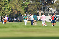 Marc Leishman (AUS) congratulates Justin Thomas (USA) after holing out his approach shot on 18 during round 4 of the World Golf Championships, Mexico, Club De Golf Chapultepec, Mexico City, Mexico. 3/4/2018.<br /> Picture: Golffile | Ken Murray<br /> <br /> <br /> All photo usage must carry mandatory copyright credit (&copy; Golffile | Ken Murray)
