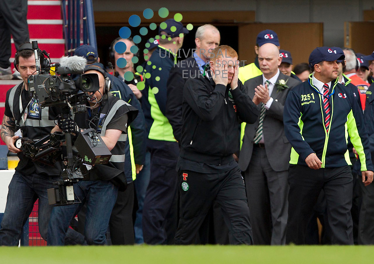 Celtic Manager Neil Lennon happy after the win during the William Hill Scottish Cup Final Hibernian v Celtic FC at Hampden Park, Glasgow..Picture: Maurice McDonald/Universal News And Sport (Europe) 26 May 2013.