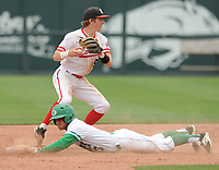 NWA Democrat-Gazette/ANDY SHUPE<br /> Harding Academy shortstop Pate Fullerton (top) forces out Greenland shortstop Chandler Alaniz Friday, May 19, 2017, during the Class 3A state championship game at Baum Stadium in Fayetteville. Visit nwadg.com/photos to see more photographs from the game.