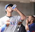 Yu Darvish (Rangers), MAY 22, 2014 - MLB : Yu Darvish of the Texas Rangers takes a drink in the dugout during the MLB game between the Detroit Tigers and the Texas Rangers at Comerica Park in Detroit, United States. (Photo by AFLO)