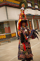 Buddhist Head Lama at the ceremonial procession at the Lingdum monastery, Sikkim, India