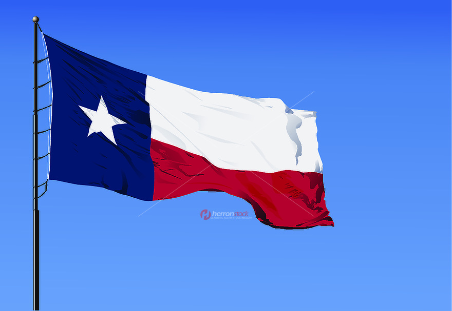 Texas state flag, hi-res, eps vector graphic consists of a rectangle with a width to length ratio of two to three containing: a blue vertical stripe one-third the entire length of the flag wide, and two equal horizontal stripes, the upper stripe white, the lower red, each two-thirds the entire length of the flag long; and a white, regular five-pointed star in the center of the blue stripe, oriented so that one point faces upward, and of such a size that the diameter of a circle passing through the five points of the star is equal to three-fourths the width of the blue stripe. The red and blue of the state flag are the same colors used in the United States flag.