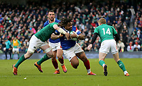 Sunday10th March 2019 | Ireland vs France<br /> <br /> Mathieu Bastareaud on the attack is tackled by Peter O&rsquo;Mahony during the Guinness 6 Nations clash between Ireland and France at the Aviva Stadium, Lansdowne Road, Dublin, Ireland. Photo by John Dickson / DICKSONDIGITAL