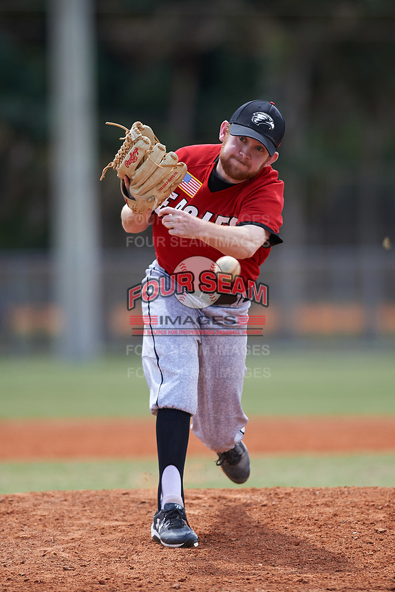 Edgewood College Eagles pitcher Ryan Howell (23) delivers a pitch during a game against the New York University Violets on March 14, 2017 at Terry Park in Fort Myers, Florida.  NYU defeated Edgewood 12-7.  (Mike Janes/Four Seam Images)