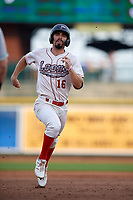 Great Lakes Loons Luke Heyer (16) running the bases during a Midwest League game against the Clinton LumberKings on July 19, 2019 at Dow Diamond in Midland, Michigan.  Clinton defeated Great Lakes 3-2.  (Mike Janes/Four Seam Images)