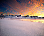 Sunset over eastern Sierra peaks and lake, Mono County, near Mammoth Lakes, California