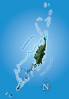 Renderings/Artwork of Maps from Palau, Micronesia.  High-Resolution,