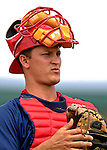 14 March 2007: Washington Nationals catcher Brandon Harper watches the action against the St. Louis Cardinals at Roger Dean Stadium in Jupiter, Florida...Mandatory Photo Credit: Ed Wolfstein Photo