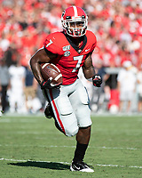 ATHENS, GA - SEPTEMBER 7: D'Andre Swift #7 runs to open field against Murray State during a game between Murray State Racers and University of Georgia Bulldogs at Sanford Stadium on September 7, 2019 in Athens, Georgia.